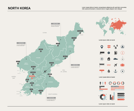 Vector map of North Korea. High detailed country map with division, cities and capital Pyongyang. Political map,  world map, infographic elements.