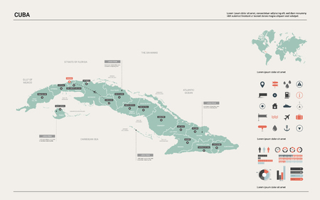 Vector map of Cuba. High detailed country map with division, cities and capital Havana. Political map,  world map, infographic elements.
