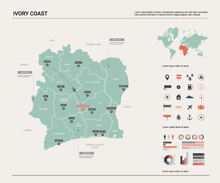 Vector map of Ivory Coast. High detailed country map with division, cities and capital Yamoussoukro. Political map,  world map, infographic elements.
