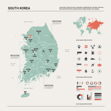 Vector map of South Korea. High detailed country map with division, cities and capital Seoul. Political map,  world map, infographic elements. Ilustração