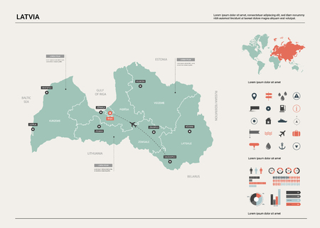Vector map of Latvia. High detailed country map with division, cities and capital Riga. Political map,  world map, infographic elements. Ilustração