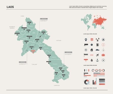 Mapa de vectores de Laos. Alto mapa detallado del país con división, ciudades y capital, Vientiane. Mapa político, mapa del mundo, elementos infográficos.