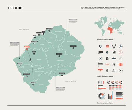 Vector map of Lesotho. High detailed country map with division, cities and capital Maseru. Political map, world map, infographic elements.