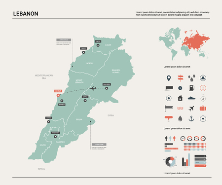 Vector map of Lebanon. High detailed country map with division, cities and capital Beirut. Political map,  world map, infographic elements.