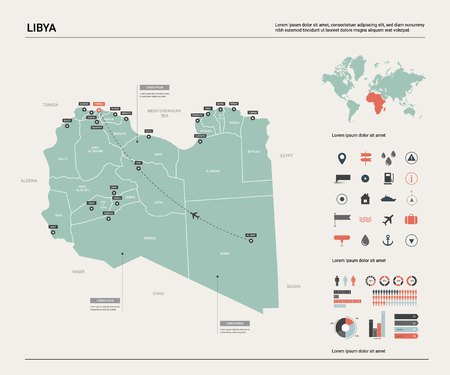 Vector map of Libya. High detailed country map with division, cities and capital Tripoli. Political map,  world map, infographic elements.