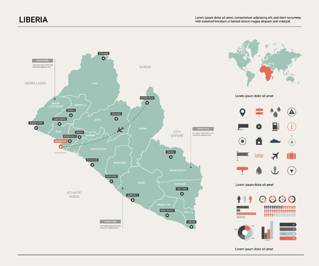 Vector map of Liberia. High detailed country map with division, cities and capital Monrovia. Political map,  world map, infographic elements.