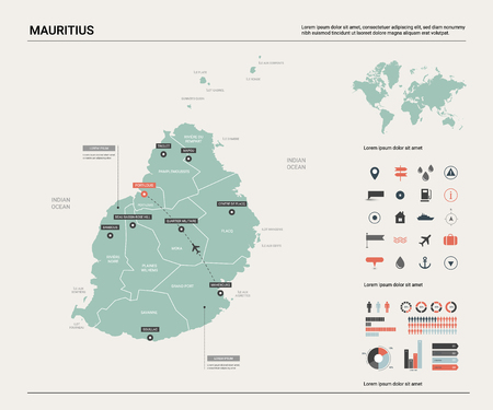 Vector map of Mauritius. Country map with division, cities and capital Port Louis. Political map,  world map, infographic elements. Ilustração