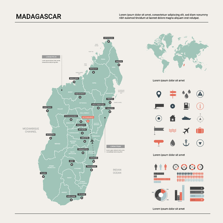 Vector map of Madagascar. Country map with division, cities and capital Antananarivo. Political map,  world map, infographic elements.