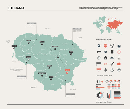 Vector map of Lithuania. High detailed country map with division, cities and capital Vilnius. Political map,  world map, infographic elements.
