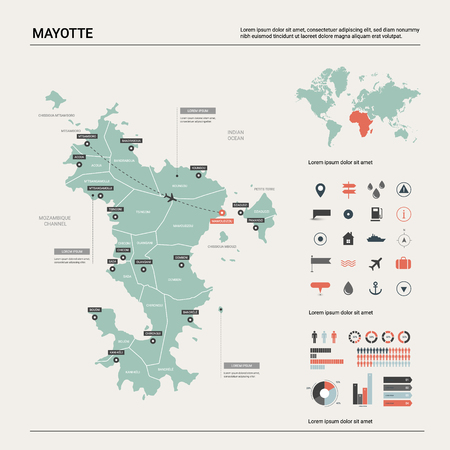 Vector map of Mayotte. Country map with division, cities and capital. Political map,  world map, infographic elements. Ilustração