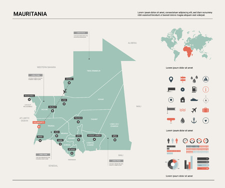 Vector map of Mauritania. Country map with division, cities and capital Nouakchott. Political map,  world map, infographic elements.