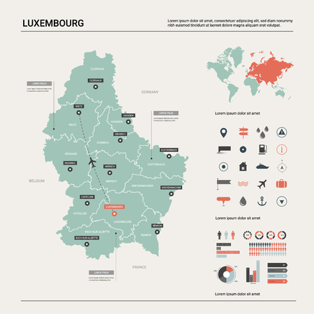 Vector map of Luxembourg. Country map with division, cities and capital. Political map, world map, infographic elements.