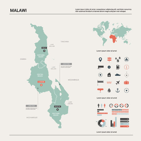 Vector map of Malawi. Country map with division, cities and capital Lilongwe. Political map,  world map, infographic elements. Ilustração