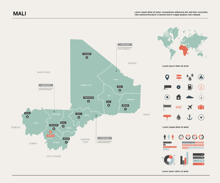 Vector map of Mali. Country map with division, cities and capital Bamako. Political map,  world map, infographic elements. Ilustrace