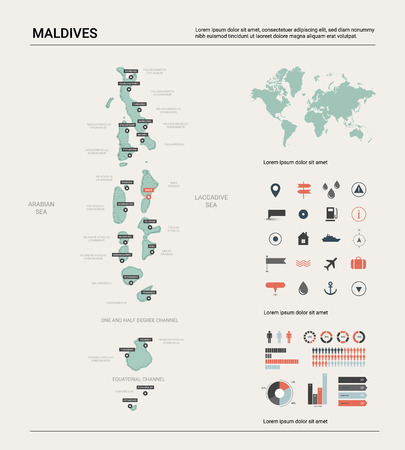 Vector map of Maldives. Country map with division, cities and capital Male. Political map,  world map, infographic elements. Ilustração