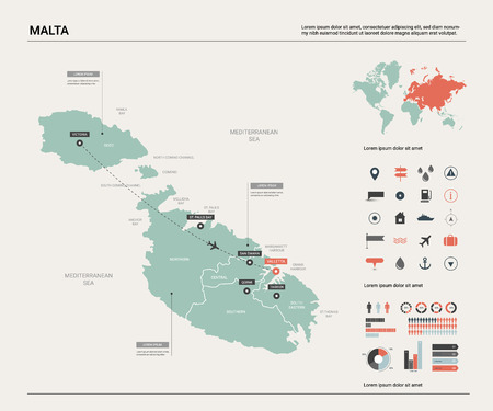 Vector map of Malta. Country map with division, cities and capital Valletta. Political map,  world map, infographic elements. Ilustração