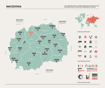 Vector map of Macedonia. Country map with division, cities and capital Skopje. Political map,  world map, infographic elements.