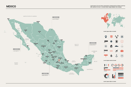Vector map of Mexico. Country map with division, cities and capital. Political map,  world map, infographic elements. Ilustrace