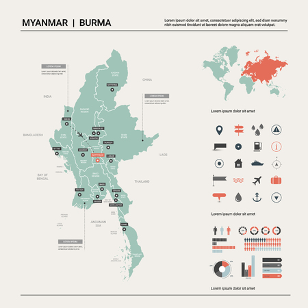 Vector map of Myanmar. Country map with division, cities and capital Naypyidaw. Political map,  world map, infographic elements.