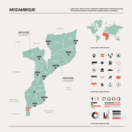 Vector map of Mozambique. Country map with division, cities and capital Maputo. Political map,  world map, infographic elements.