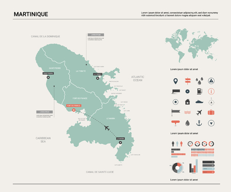 Vector map of Martinique. Country map with division, cities and capital Fort-de-France. Political map,  world map, infographic elements. Ilustração