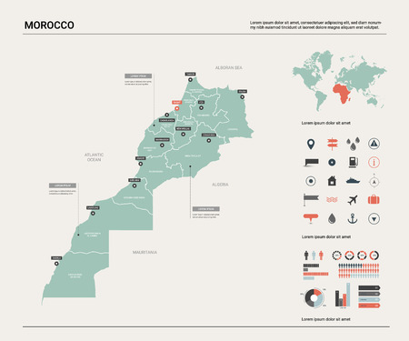 Vector map of Morocco. Country map with division, cities and capital Rabat. Political map,  world map, infographic elements.