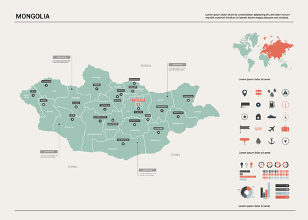 Vector map of Mongolia. Country map with division, cities and capital Ulaanbaatar. Political map,  world map, infographic elements.