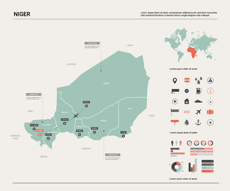 Vector map of Niger. Country map with division, cities and capital Niamey. Political map,  world map, infographic elements.