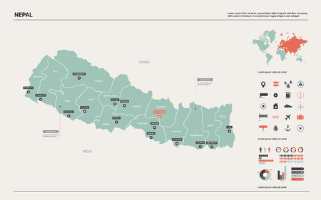 Vector map of Nepal. Country map with division, cities and capital Kathmandu. Political map,  world map, infographic elements.