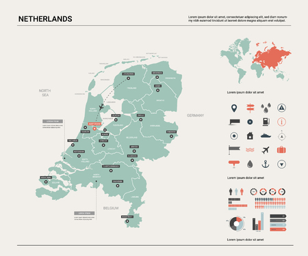 Vector map of Netherlands. Country map with division, cities and capital Amsterdam. Political map,  world map, infographic elements. Ilustração