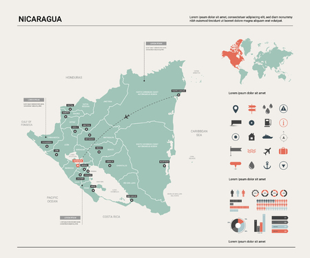Vector map of Nicaragua. Country map with division, cities and capital Managua. Political map,  world map, infographic elements.