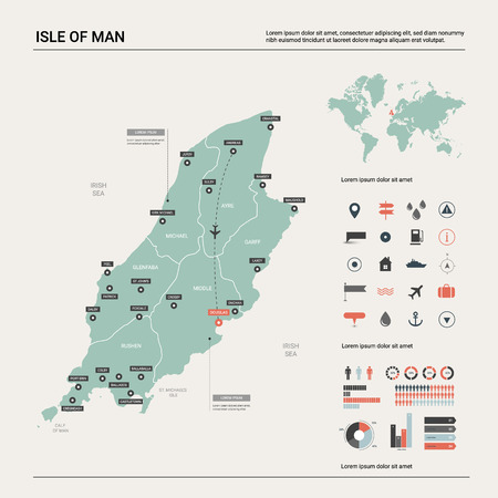 Vector map of Isle of Man. Country map with division, cities and capital Douglas. Political map,  world map, infographic elements.