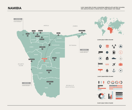 Vector map of Namibia. Country map with division, cities and capital Windhoek. Political map,  world map, infographic elements. Ilustração
