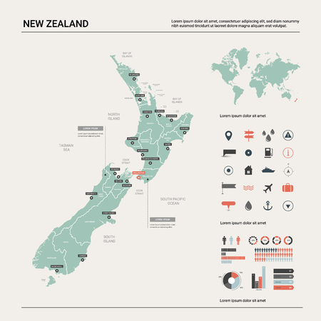 Vector map of  New Zealand. Country map with division, cities and capital Wellington. Political map,  world map, infographic elements. Ilustração