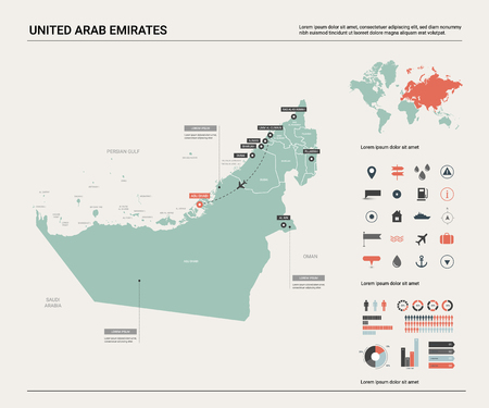 Vector map of United Arab Emirates. Country map with division, cities and capital  Abu Dhabi. Political map,  world map, infographic elements.