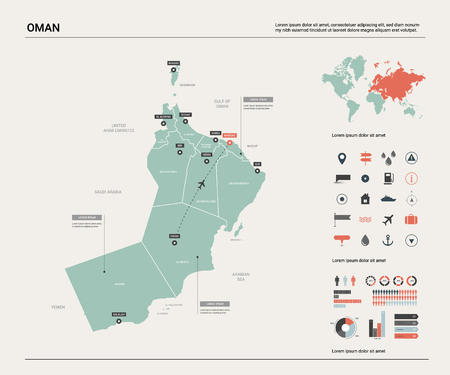 Vector map of Oman. Country map with division, cities and capital Muscat. Political map,  world map, infographic elements. Ilustração