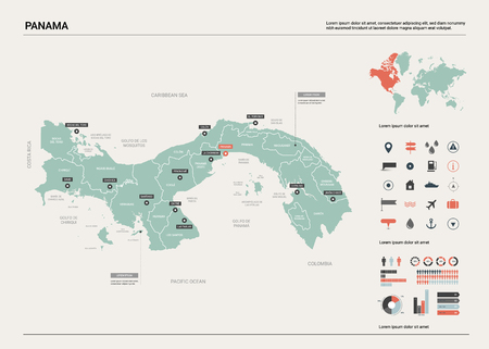 Vector map of Panama. Country map with division, cities and capital. Political map,  world map, infographic elements.