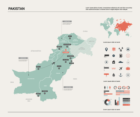 Vector map of Pakistan. Country map with division, cities and capital Islamabad. Political map,  world map, infographic elements.