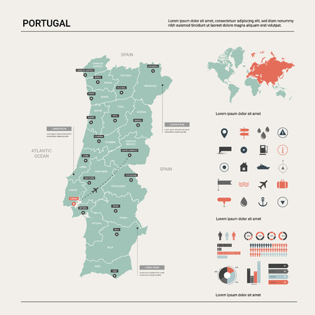 Vector map of Portugal. Country map with division, cities and capital Lisbon. Political map,  world map, infographic elements.