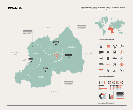 Vector map of Rwanda. Country map with division, cities and capital Kigali. Political map,  world map, infographic elements.   Ilustração