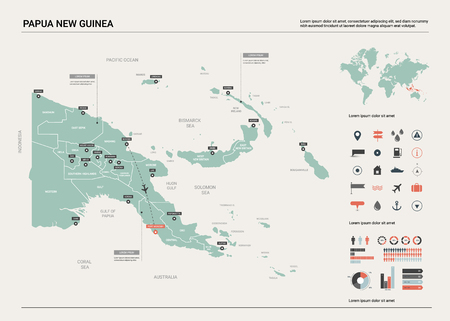 Vector map of Papua New Guinea. Country map with division, cities and capital Port Moresby. Political map, world map, infographic elements.