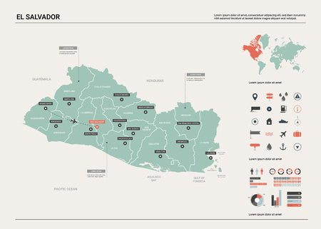 Vector map of El Salvador. Country map with division, cities and capital San Salvador. Political map,  world map, infographic elements.