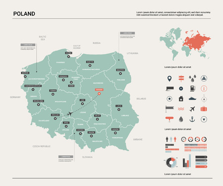 Vector map of Poland. Country map with division, cities and capital Warsaw. Political map,  world map, infographic elements.  Ilustração