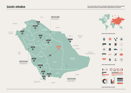 Vector map of Saudi Arabia. Country map with division, cities and capital Riyadh. Political map,  world map, infographic elements.