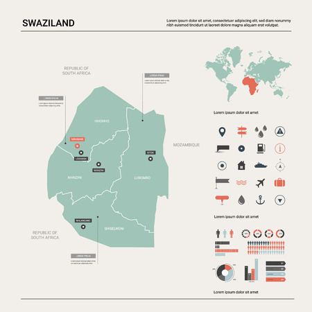 Vector map of Swaziland. Country map with division, cities and capital Mbabane. Political map, world map, infographic elements.