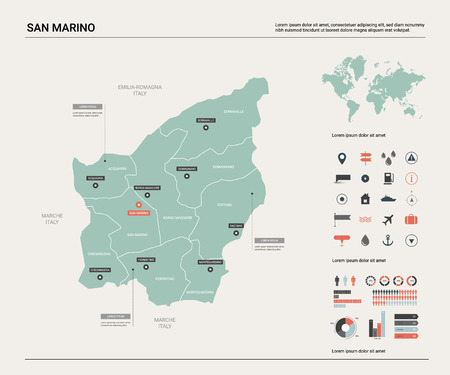 Vector map of San Marino. Country map with division, cities and capital. Political map,  world map, infographic elements.