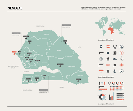 Vector map of Senegal. Country map with division, cities and capital Dakar. Political map,  world map, infographic elements. Ilustração