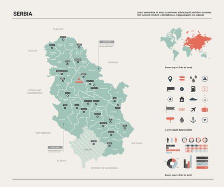 Vector map of Serbia. Country map with division, cities and capital Belgrade. Political map,  world map, infographic elements.