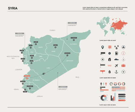 Vector map of Syria. Country map with division, cities and capital Damascus. Political map,  world map, infographic elements.