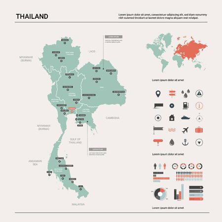 Vector map of Thailand. Country map with division, cities and capital Bangkok. Political map,  world map, infographic elements.